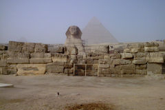 Sphinx with pyramid in the background in Gizah, Cairo Egypt