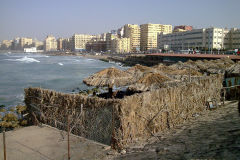 Waterfront to the Mediterranean Sea in Alexandria, Egypt.
