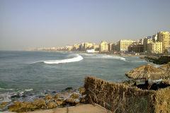 Waterfront to the Mediterranean Sea in Alexandria, Egypt.
