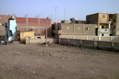 Buildings on the edge of the railway line between Al Faiyum and Al Wasta in Egypt.
