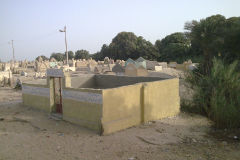 A grave yard at the edge of the railway line between Al Faiyum and Al Wasta in Egypt.