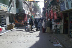 A street with some meat hanging in Gizah Egypt