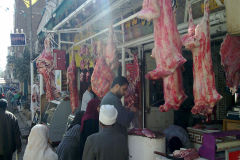 Meat hanging on the streets in Gizah Egypt