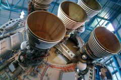 Rocket engines of a Saturn 5 at Kennedy Space Center, Florida, USA