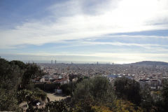View over Barcelona from Park Guell, Spain