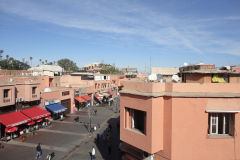 Street view from a Hotel room in Marrakech, Morocco
