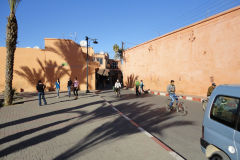 Entrance to the Medina through old city wall in Marrakesh, Morocco