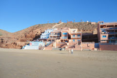 Hotels at Legzira beach near Sidi Ifni, Morocco
