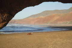 Rock arches at Legzira beach near Sidi Ifni, Morocco