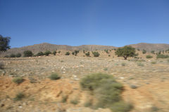Landscape in the Anti Atlas on the way from Tafraoute to Taroudannt in Morocco.