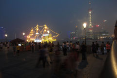 The Bund at night in Shanghai, China