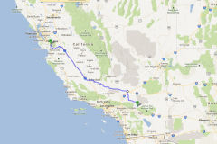 Route im Central Valley in California, USA