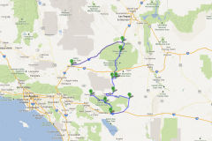Route through Joshua Tree National Park and Mojave Desert in California, USA