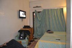 Scrappy dirty room inside Hotel Tazi Marrakech, Morocco
