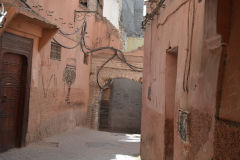 Narrow alleys scene inside the Medina in Marrakech, Morocco