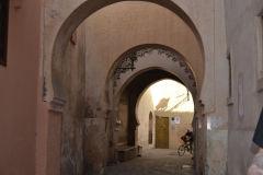 Narrow alleys scene inside the Medina in Marrakech, Morocco