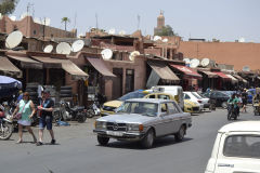 A classical W123 Mercedes in the streets of Marrakech, Morocco