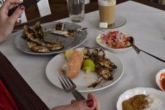 In a restaurant in Sidi Ifni near Legzira, Morocco