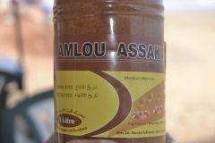 Amlou Assaka, a spread at the beach of Legzira near Sidi Ifni, Morocco