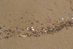 Plastic at the beach of Legzira near Sidi Ifni, Morocco