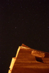 Stars on top of the roof on Kasbah Draa near Mhamid, Morocco