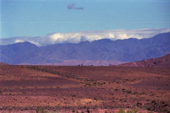 Snow on the Atlas Mountains seen from east, Morocco
