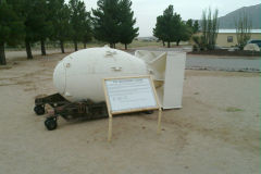Fat man atomic bomb casing at the White Sands Missile Range, New Mexico, USA