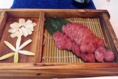 Asian food in a restaurant in Dalian, China