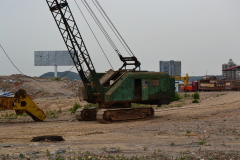 Old crane for construction work in Dalian, China