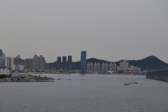 View from the bridge in direction of the city center in Dalian, China
