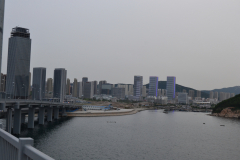 View from the bridge in direction of the new city district in Dalian, China