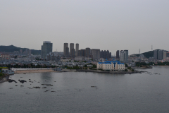 View from the bridge in direction of the city in Dalian, China