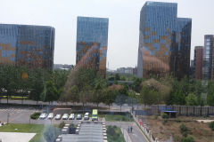 View from a hotel in a newly constructed suburb of Beijing, China
