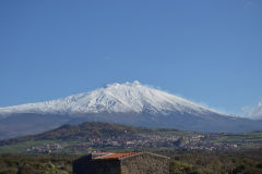 Mount Etna as seen from the Inland of Sicily, Italy