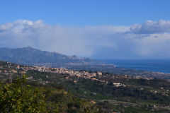 Taormina in the far distance in Sicily, Italy
