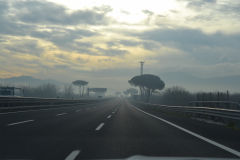 Landscape on the highway south of Rome, Italy
