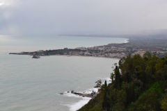 View from Taormina over Villagonia and Naxos in Sicily, Italy