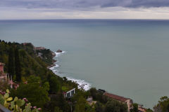 View from Taormina over Villagonia in Sicily, Italy