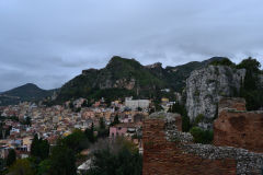 View of Taormina from the Ancient Greek Theatre in Sicily, Italy