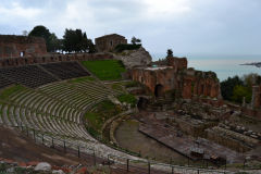 Views of the Ancient Greek Theatre in Taormina, Sicily, Italy