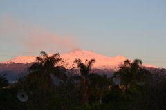 Mount Etna during sunrise as seen from our terrace in our house in Sicily, Italy