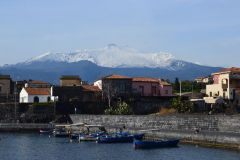 Mount Etna taken from a small village at the Mediteranean Sea in Sicily, Italy
