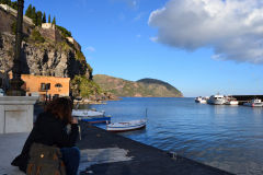 A view of Lipari Island, one of the Aeolian Islands in the Tyrrhenian Sea, Italy