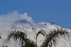 The smoking Mount Etna as seen from the terrace of our house in Sicily, Italy