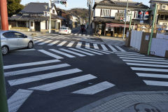 Street crossing in all directions in Kamakura, Japan