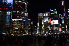 Shibuya crossing at night in Tokyo, Japan