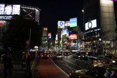 Shibuya crossing at night in Tokyo, Japan