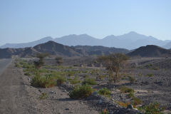 Landscape in the Hajar Mountains in the United Arab Emirates