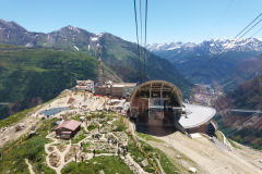 Monte Bianco Skyway cable car to Bistrot Des Glaciers and Refuge Torino in Italy