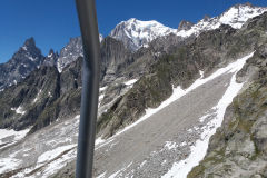 Mont Blanc massive as seen from the cable car in Italy